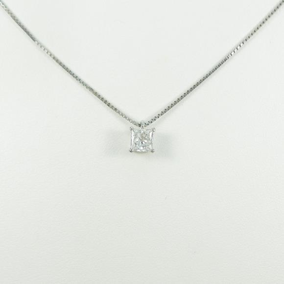 プラチナダイヤモンドネックレス 0.540ct・F・SI1・プリンアセスカット【中古】 【店頭受取対応商品】
