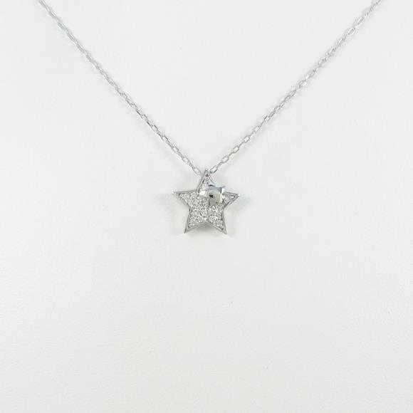K18WG/PT スター ダイヤモンドネックレス【中古】 【店頭受取対応商品】