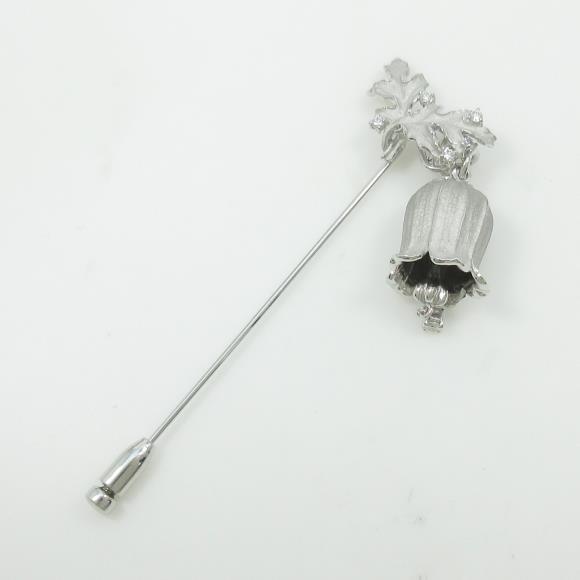 K18WG/K14WG 2WAY ベル×リーフ ダイヤモンドブローチ【中古】 【店頭受取対応商品】