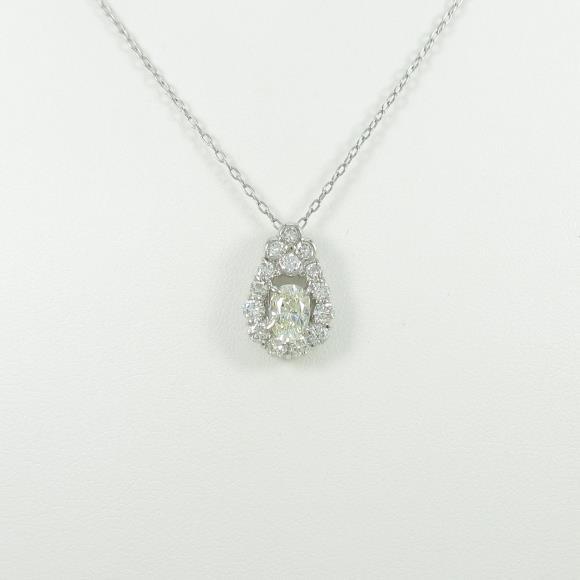 プラチナダイヤモンドネックレス 0.631ct・K・VS2・オーバルカット【中古】 【店頭受取対応商品】