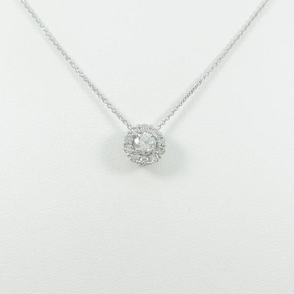 【リメイク】K18WG ダイヤモンドネックレス【中古】 【店頭受取対応商品】