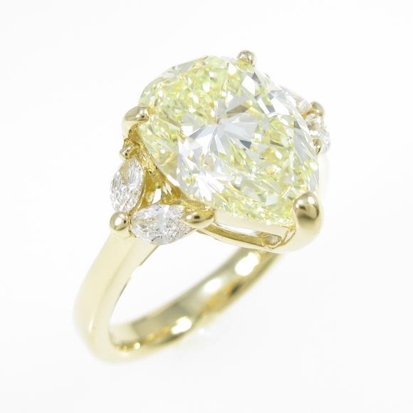 【リメイク】K18YG ダイヤモンドリング 3.446ct・FLY・SI2・ペアシェイプ【中古】 【店頭受取対応商品】