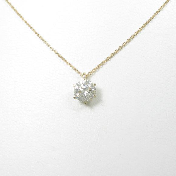 【リメイク】K18YG ソリティア ダイヤモンドネックレス 1.059ct・K・SI2・GOOD【中古】 【店頭受取対応商品】
