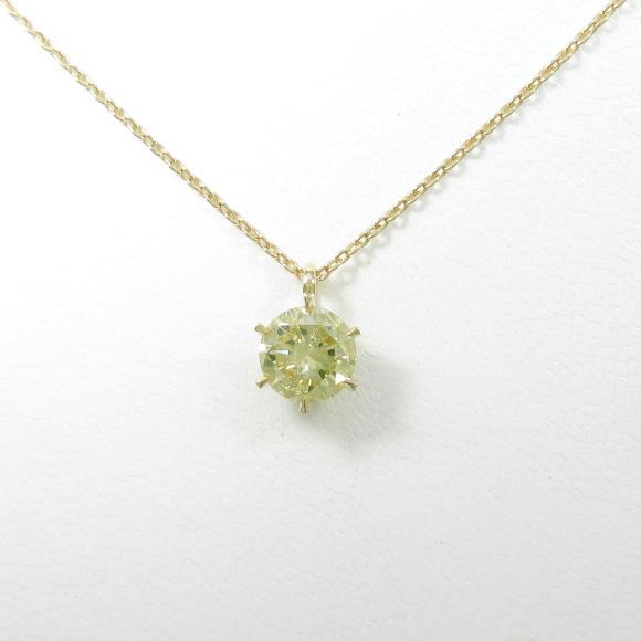【リメイク】K18YG ソリティア ダイヤモンドネックレス 1.509ct・FBY・SI2【中古】 【店頭受取対応商品】