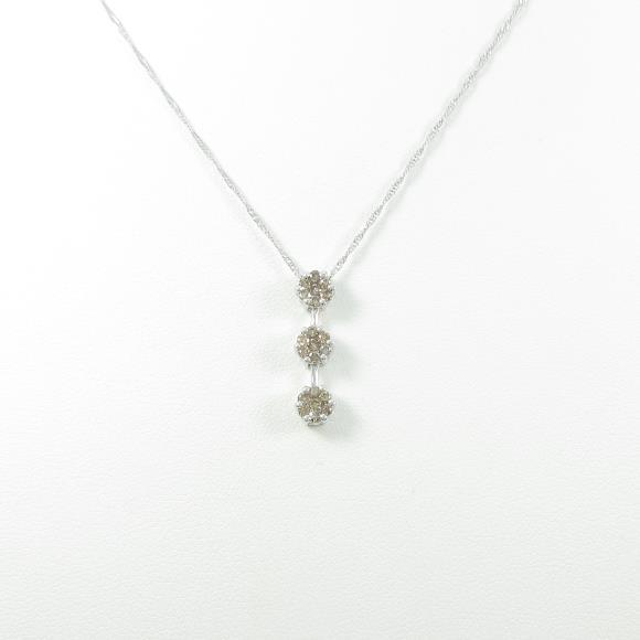K18WG ダイヤモンドネックレス【中古】 【店頭受取対応商品】