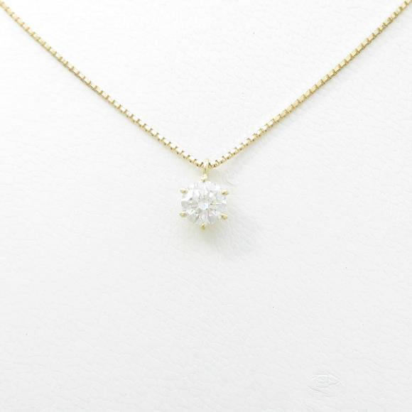 K18YG ソリティア ダイヤモンドネックレス 0.503ct・F・SI2・EXT【中古】 【店頭受取対応商品】