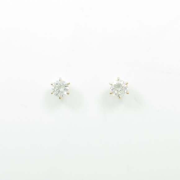 【リメイク】K18YG/ST ダイヤモンドピアス 0.708ct・H・VS2・GOOD【中古】 【店頭受取対応商品】