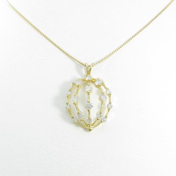 750YG/K18YG ダイヤモンドネックレス【中古】 【店頭受取対応商品】