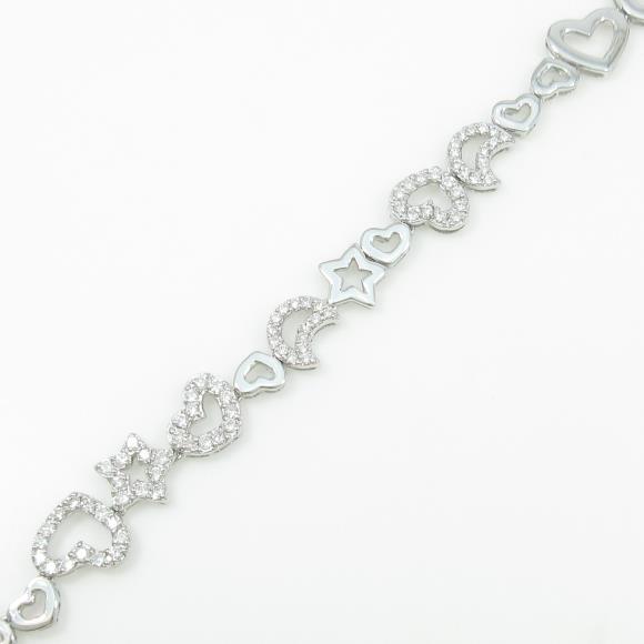 K18WG スター×ハート ダイヤモンドブレスレット【中古】 【店頭受取対応商品】