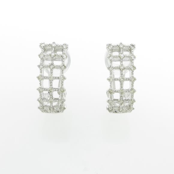 K18WG ダイヤモンドイヤリング【中古】 【店頭受取対応商品】