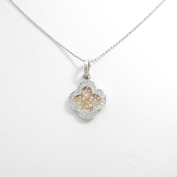 K18PG/K18WG 2WAY フラワー ダイヤモンドネックレス【中古】 【店頭受取対応商品】