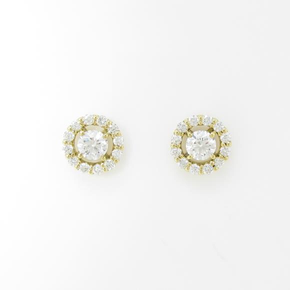 【新品】K18YG ダイヤモンドピアス 0.194ct・0.188ct・F・SI2・EXT【新品】 【店頭受取対応商品】