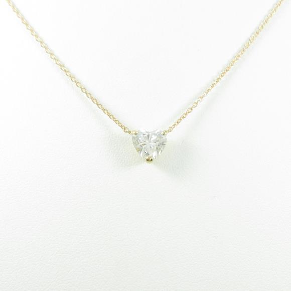 【リメイク】K18YG ダイヤモンドネックレス 1.074ct・H・SI2・ハートシェイプ【中古】 【店頭受取対応商品】