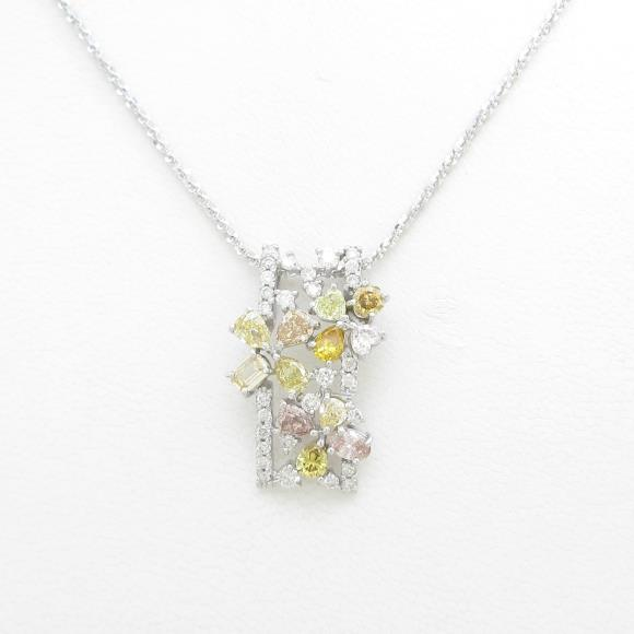 K18WG/750WG ダイヤモンドネックレス【中古】 【店頭受取対応商品】