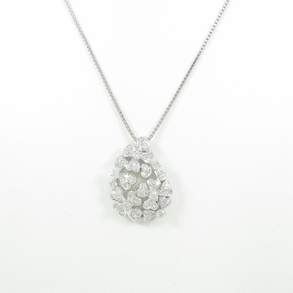 K18WG ハート ダイヤモンドネックレス【中古】