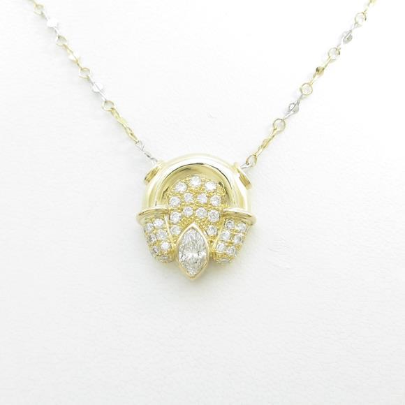 K18YG/PT ダイヤモンドネックレス【中古】