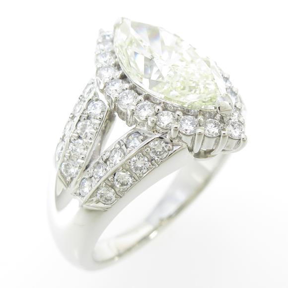 プラチナダイヤモンドリング 2.130ct・VLY・SI1・マーキスカット【中古】