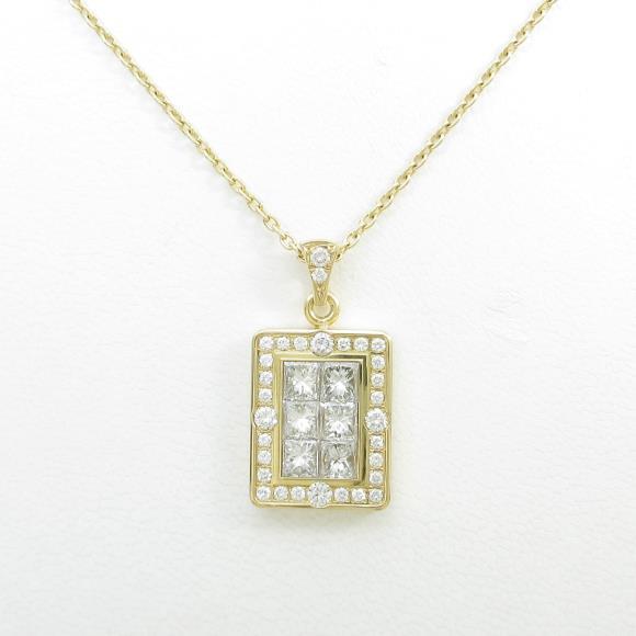 18KYG/K18YG ダイヤモンドネックレス【中古】