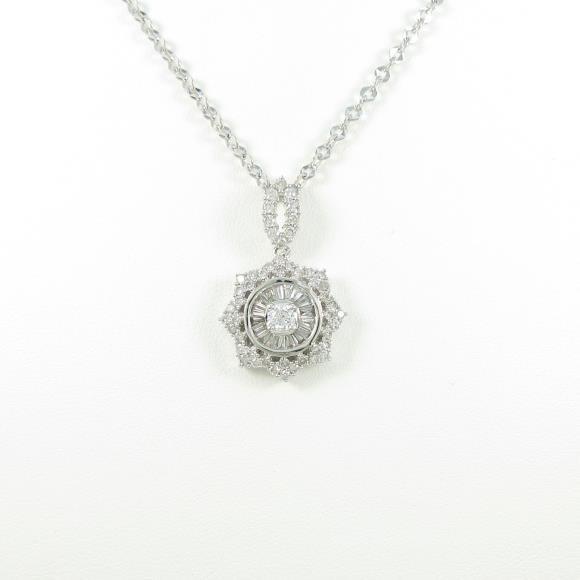 750WG ダイヤモンドネックレス【中古】