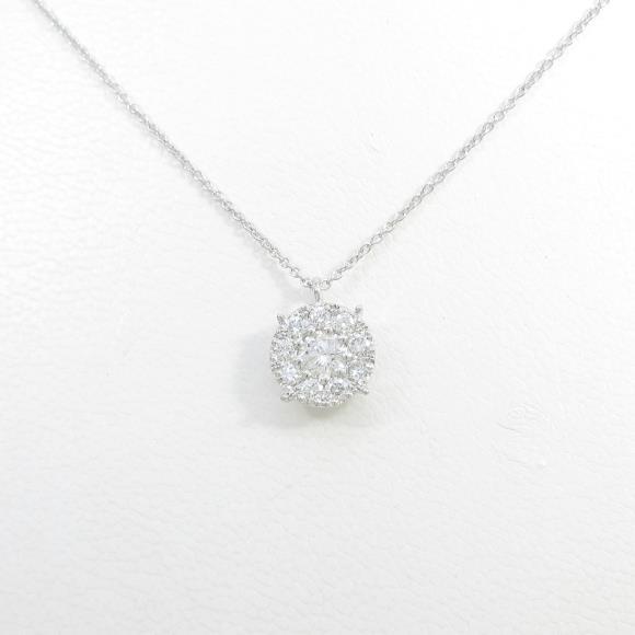 【リメイク】K18WG ダイヤモンドネックレス【中古】