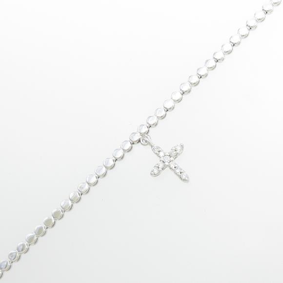 K18WG クロス ダイヤモンドブレスレット【中古】