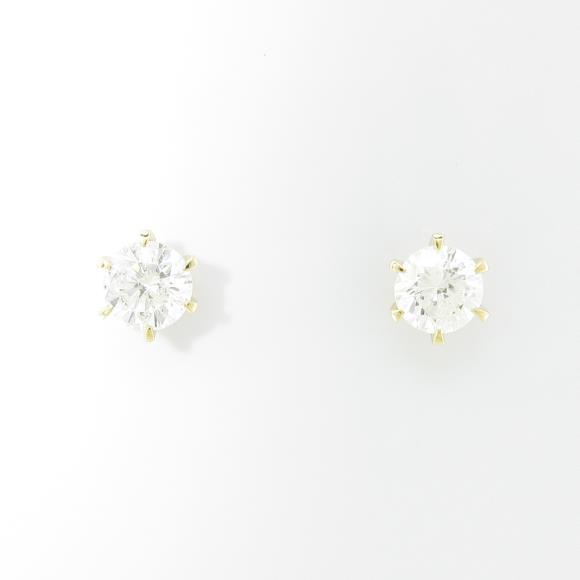 【リメイク】K18YG/ST ダイヤモンドピアス 0.322ct・0.341ct・G-H・I1・VG【中古】