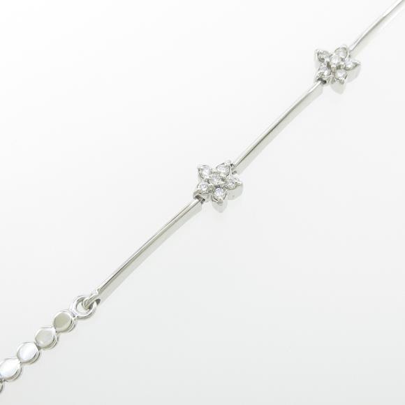 K18WG フラワー ダイヤモンドブレスレット【中古】