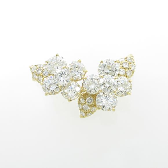 K18YG フラワー ダイヤモンドブローチ【中古】
