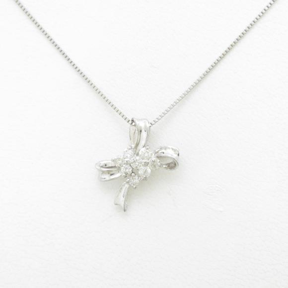 K18WG/PT リボン ダイヤモンドネックレス【中古】