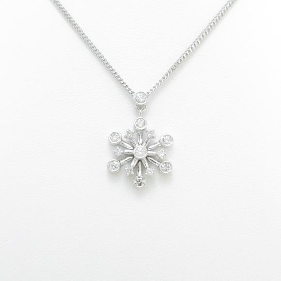 K18WG スノーフレーク ダイヤモンドネックレス【中古】