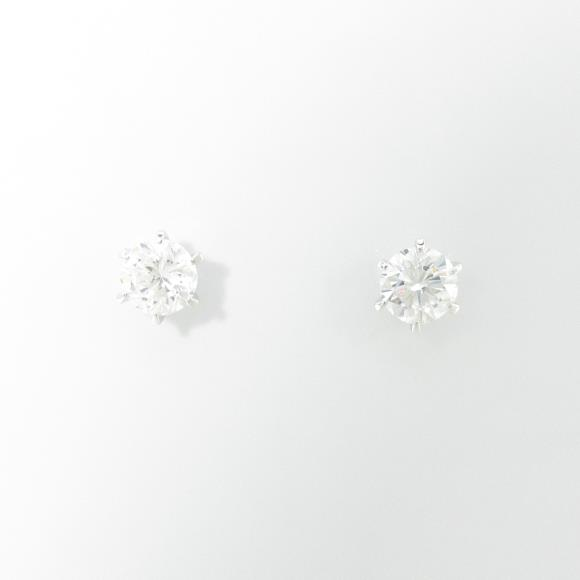 【リメイク】ST/プラチナダイヤモンドピアス 0.306ct・0.348ct・E・SI1・VG-G【中古】
