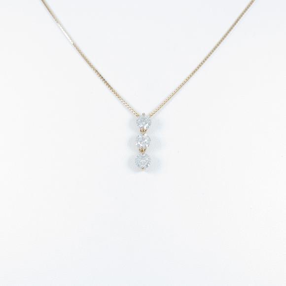 K18PG スリーストーン ダイヤモンドネックレス【中古】