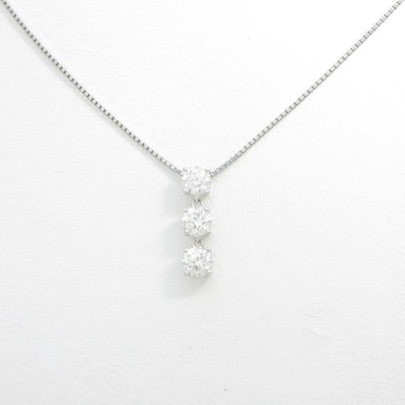 【リメイク】プラチナダイヤモンドネックレス 0.966ct・G・SI1・VERYGOOD【中古】