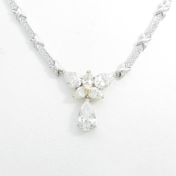 PT/K18YG/K18WG ダイヤモンドネックレス 4.046ct・E-F・SI2-I1・ペアシェイプ【中古】