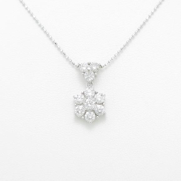 K14WG フラワー ダイヤモンドネックレス【中古】