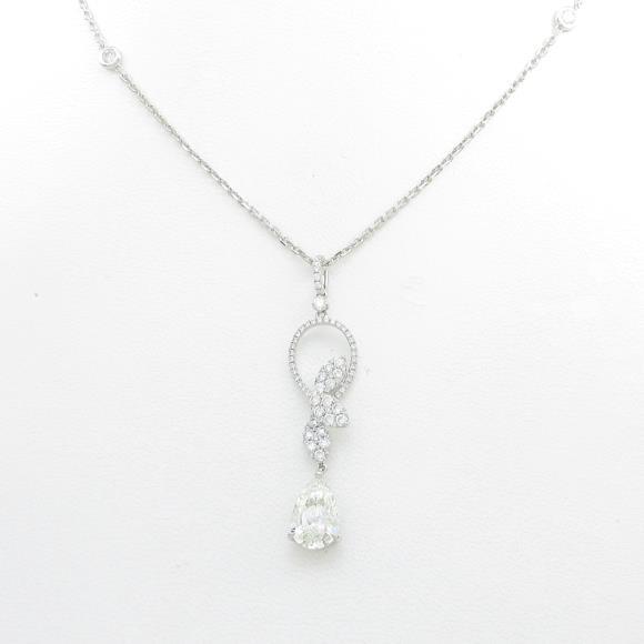 K18WG ダイヤモンドネックレス 2.148ct・L・SI2・ペアシェイプ【中古】