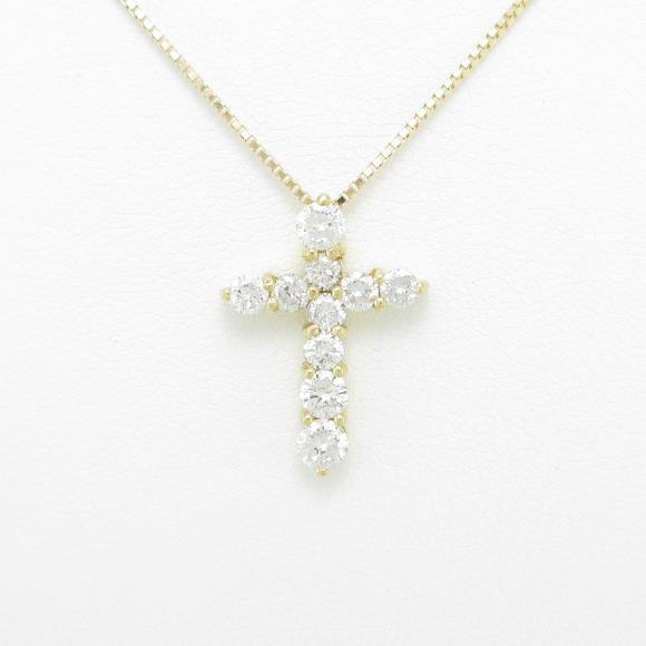 K18YG クロス ダイヤモンドネックレス【中古】