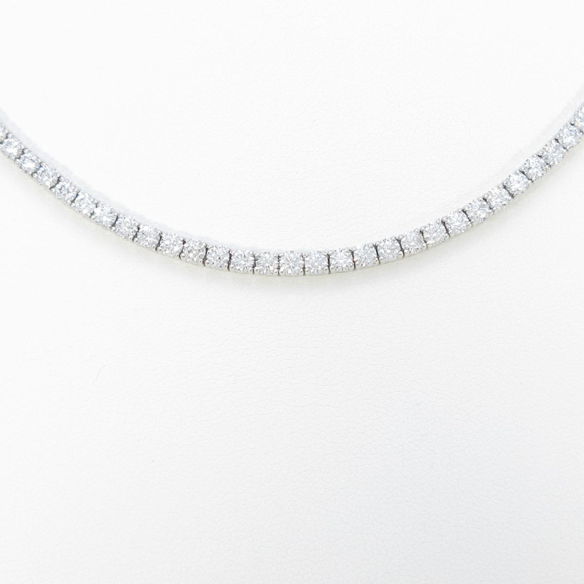 PT/K18WG ダイヤモンドネックレス【中古】