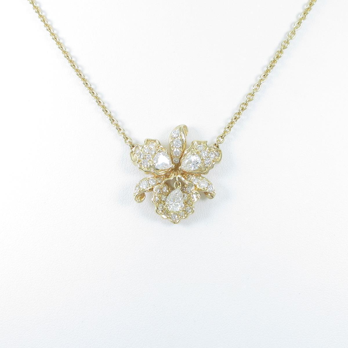 750YG フラワー ダイヤモンドネックレス【中古】