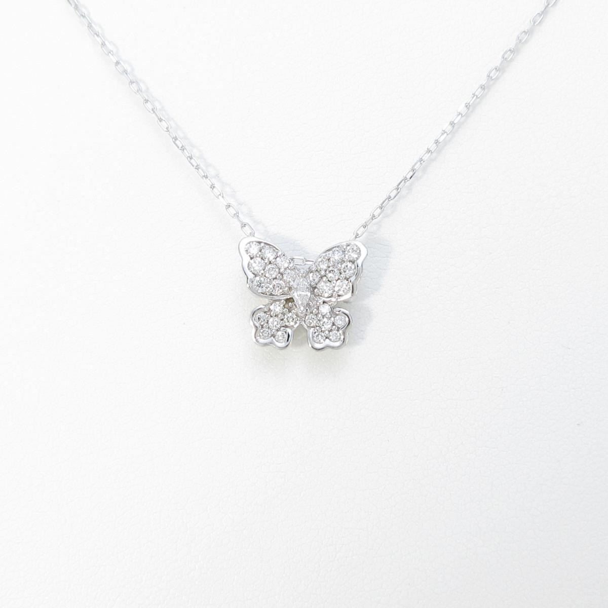 K18WG バタフライ ダイヤモンドネックレス【中古】