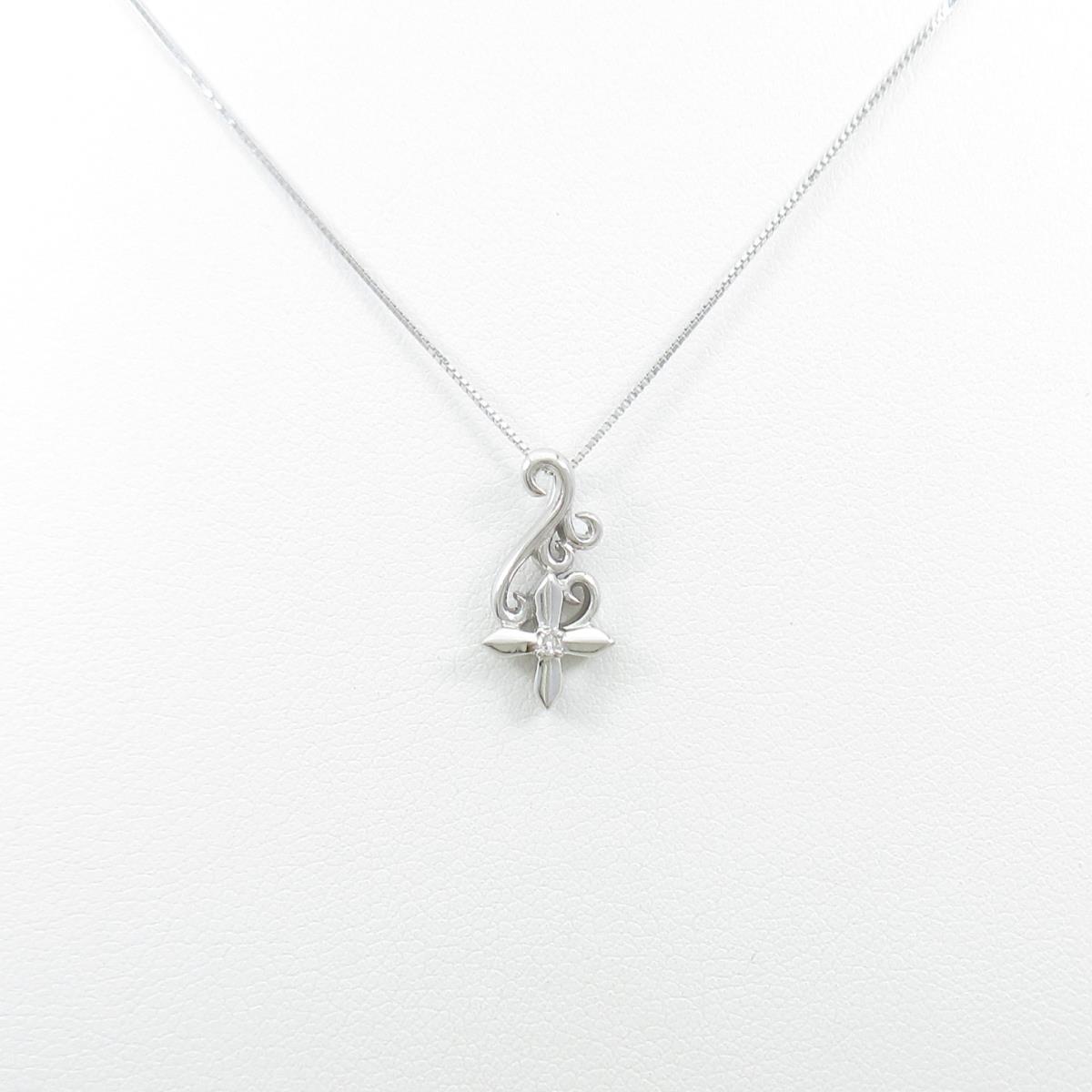 K18WG/K10WG クロス ダイヤモンドネックレス【中古】