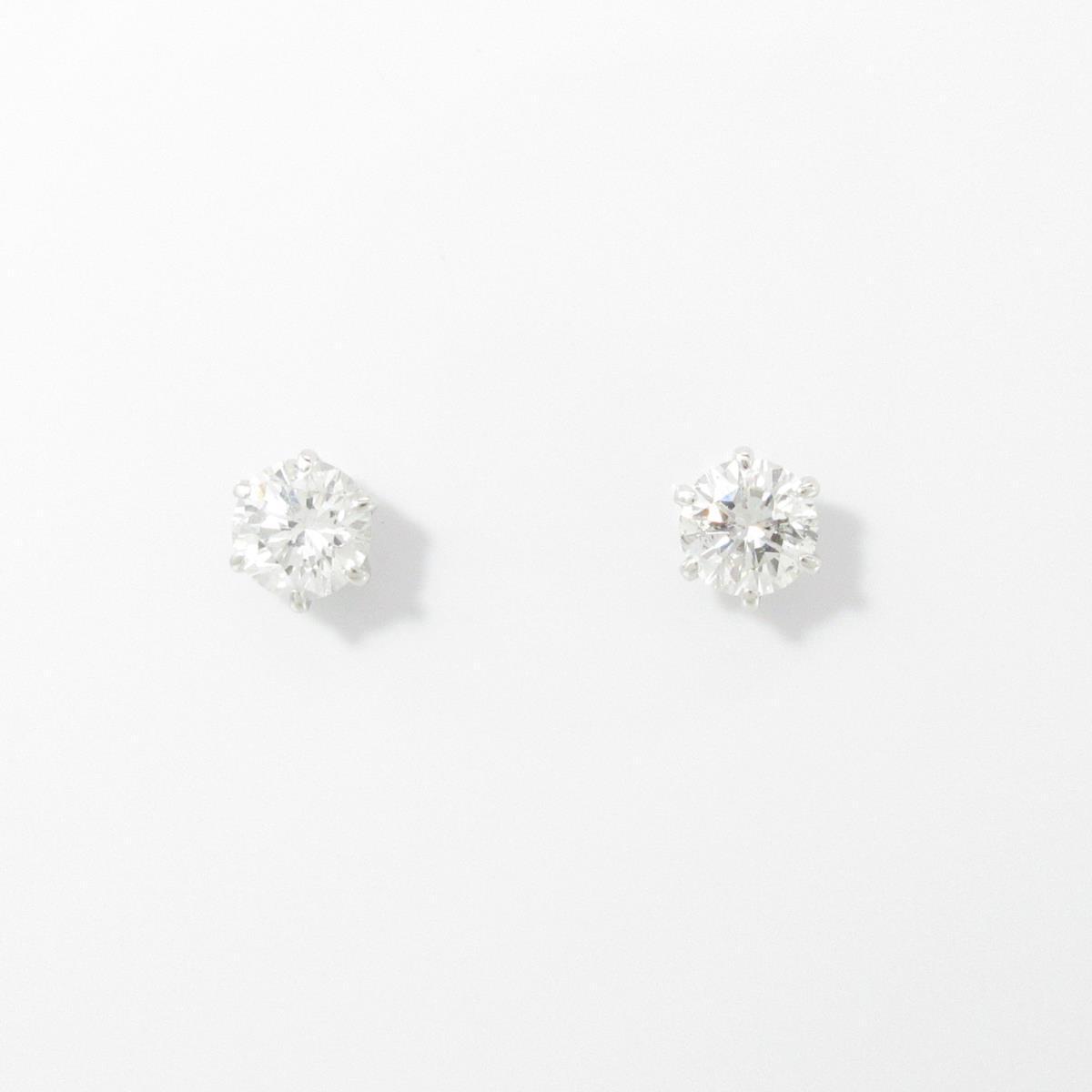 プラチナダイヤモンドピアス 0.346ct・0.365ct・F-G・SI1-2・GOOD【中古】