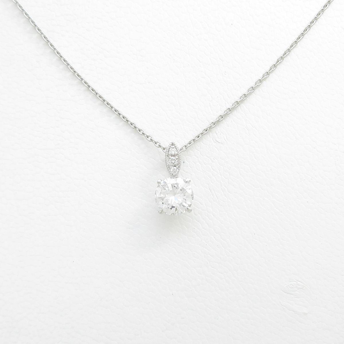 【リメイク】プラチナダイヤモンドネックレス 0.714ct・F・VS1・GOOD【中古】