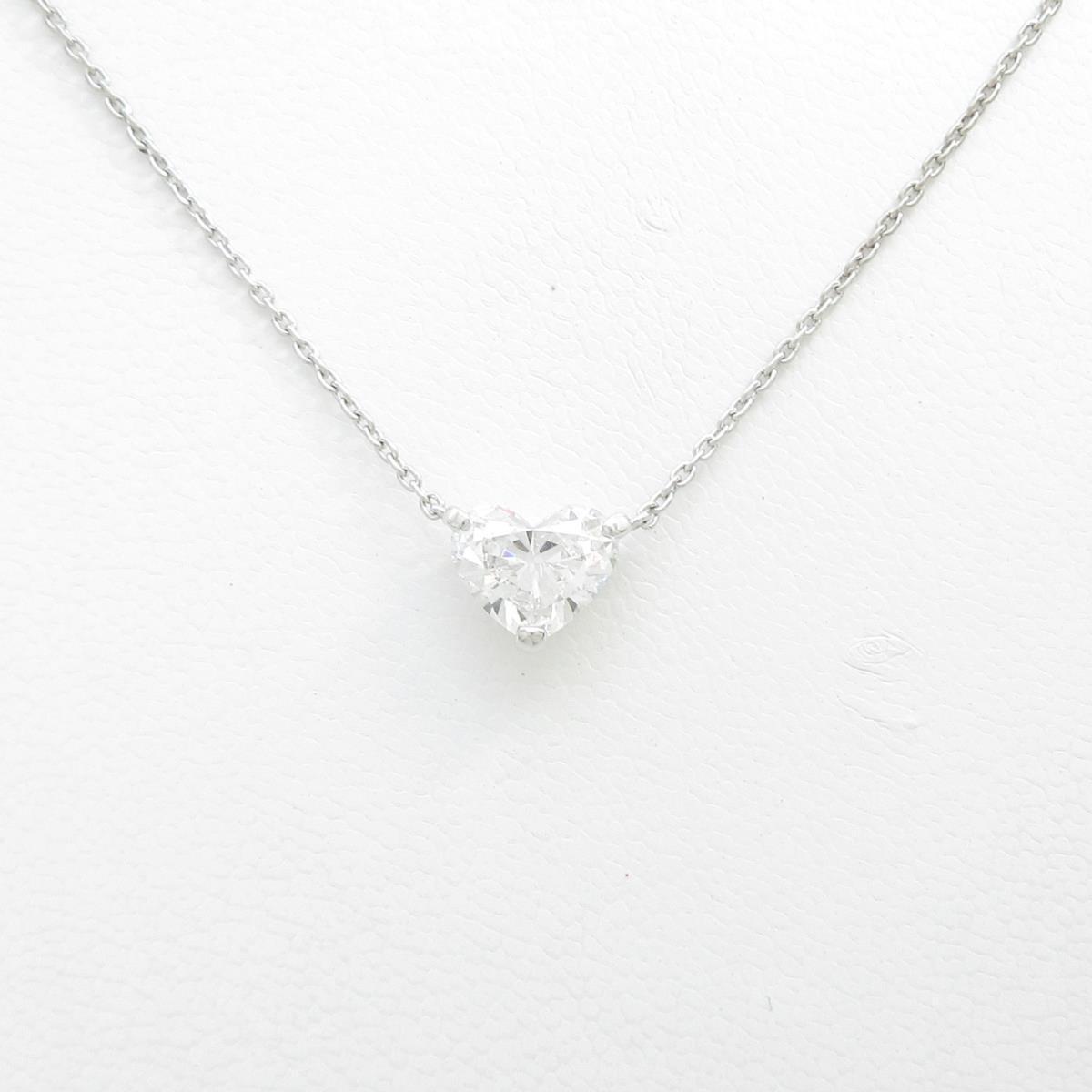 【リメイク】プラチナダイヤモンドネックレス 1.527ct・F・SI1・ハートシェイプ【中古】