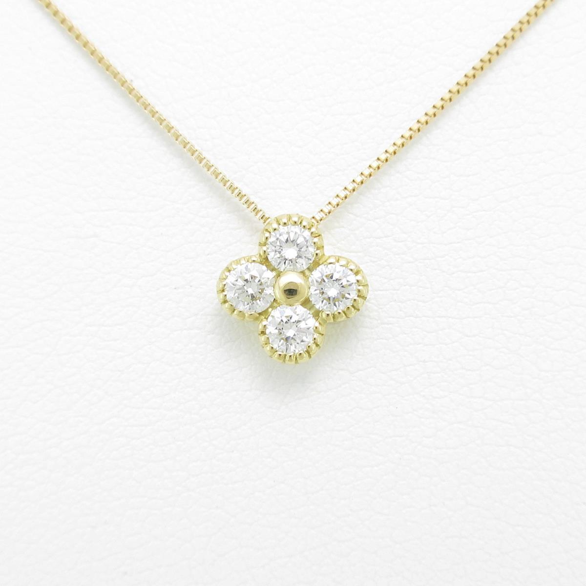 【新品】K18YG フラワー ダイヤモンドネックレス【新品】