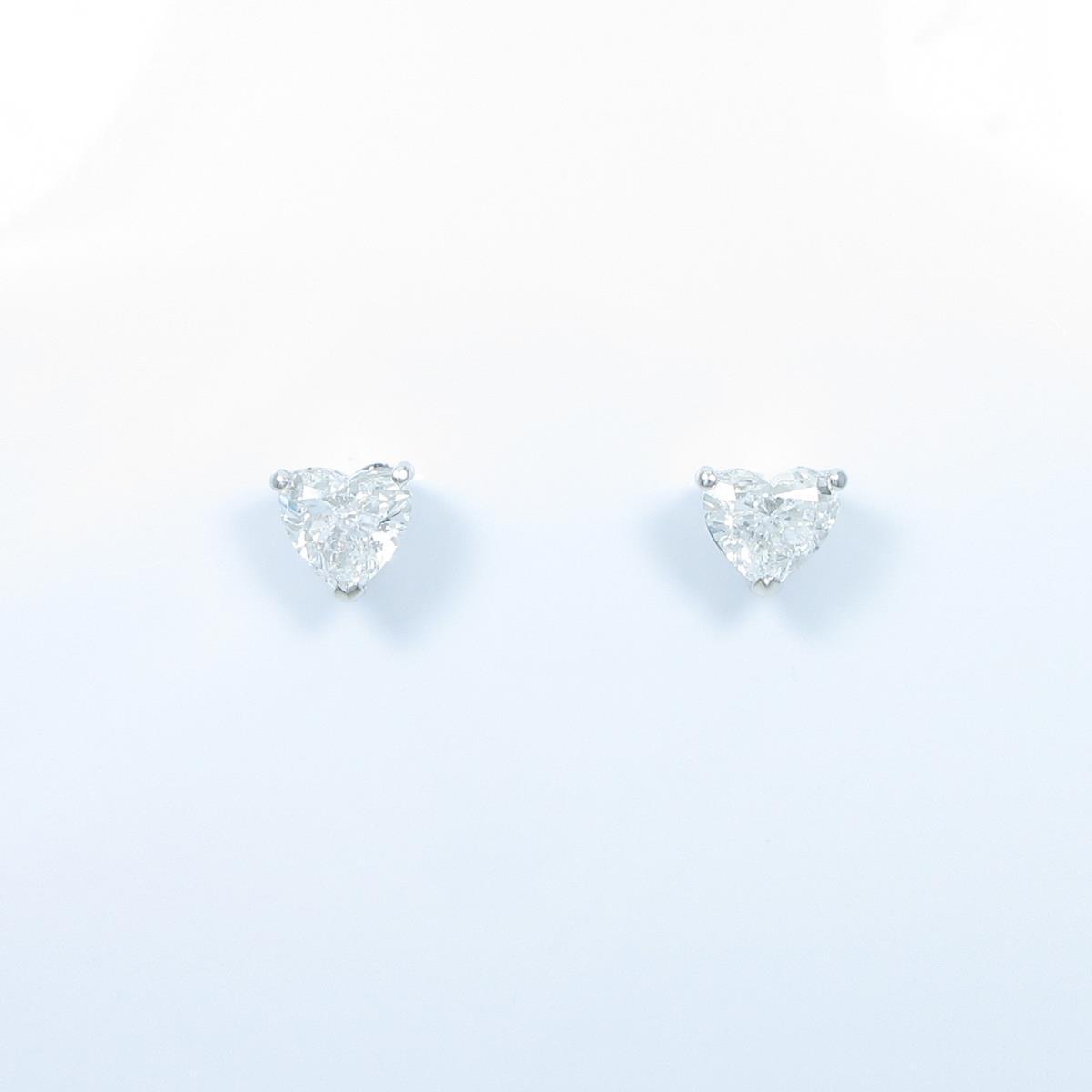 【リメイク】ST/プラチナダイヤモンドピアス 1.009ct・1.036ct・D・VS2・ハートシェイプ【中古】