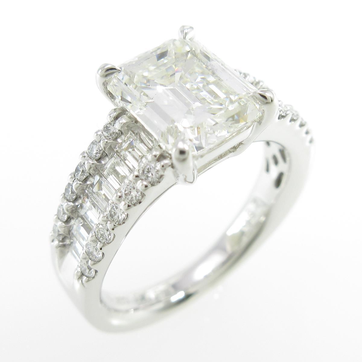 【リメイク】プラチナダイヤモンドリング 2.087ct・I・SI1・エメラルドカット【中古】