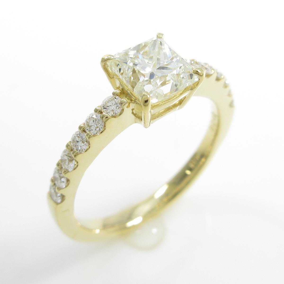 【リメイク】K18YG ダイヤモンドリング 1.020ct・K・SI1・プリンセスカット【中古】