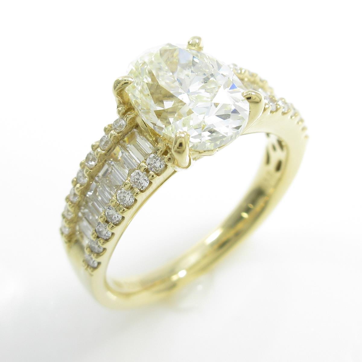【リメイク】K18YG ダイヤモンドリング 2.005ct・VLY・SI1・オーバルカット【中古】
