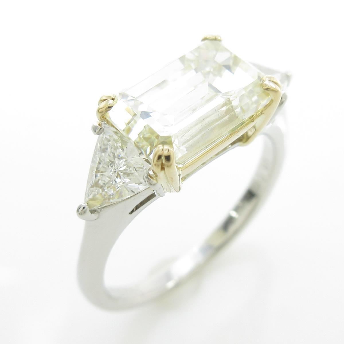 K18YG/プラチナダイヤモンドリング 3.050ct・VLY・VS1・エメラルドカット【中古】